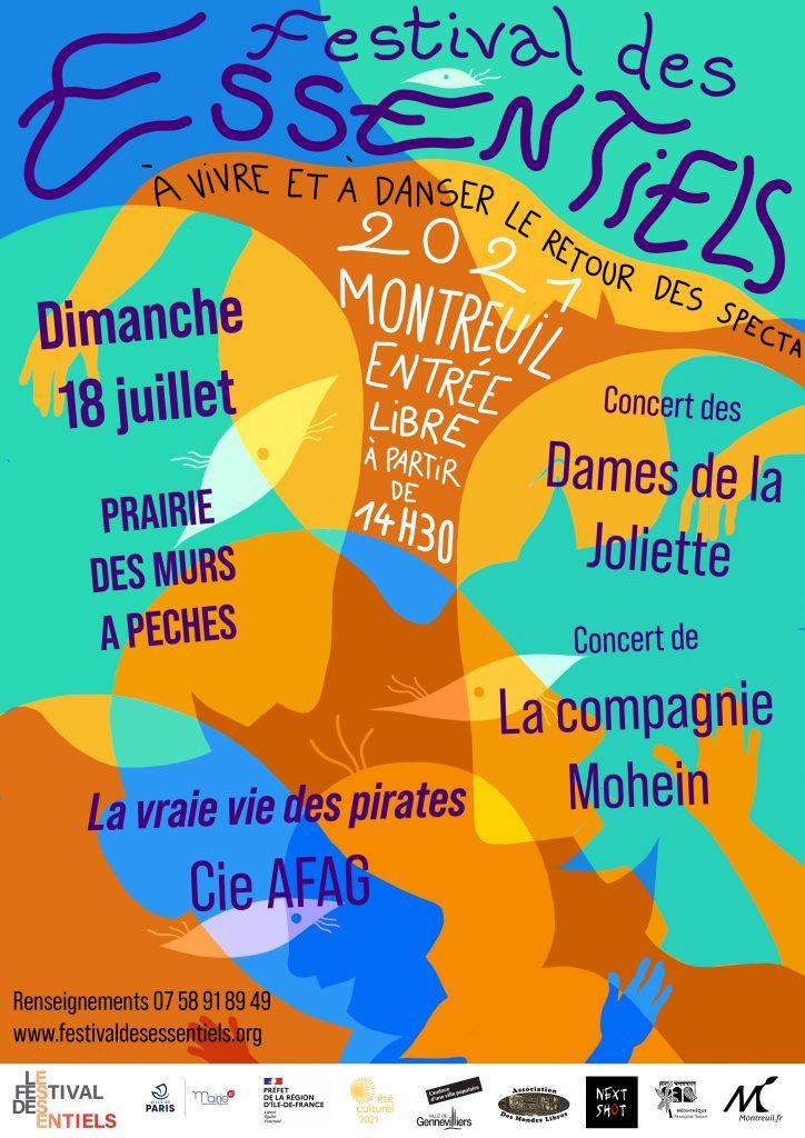 Affiche de Montreuil du Festival des Essentiels avec la programmation